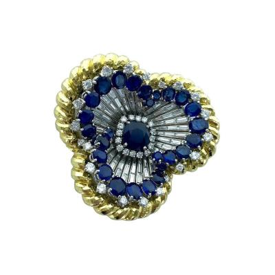 David Webb David Webb Sapphire Diamond Platinum and Gold Oversized Brooch Pendant
