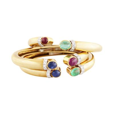 David Webb David Webb Set of Three Cabochon Gem Set Bangles