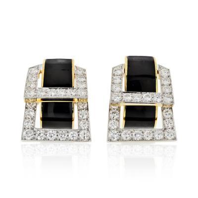 David Webb David Webb Strap Black Enamel Diamond Earrings
