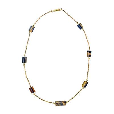 David Webb David Webb Tiger Eye Station Chain Necklace