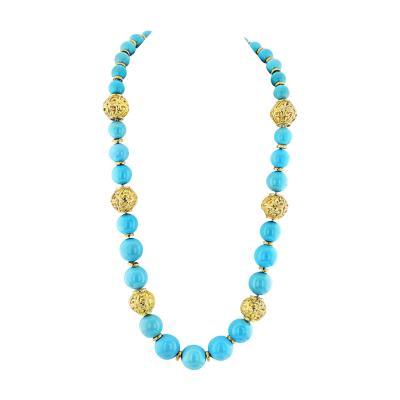 David Webb David Webb Turquoise Large Bead Strand Necklace