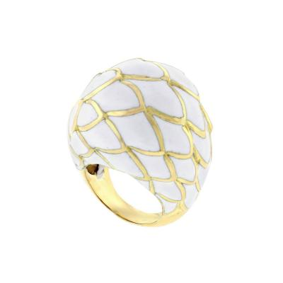 David Webb David Webb White Enamel Dome Ring