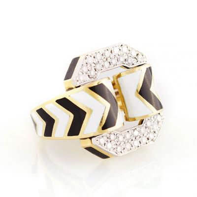 David Webb David Webb White and Black Enamel Diamond Ring