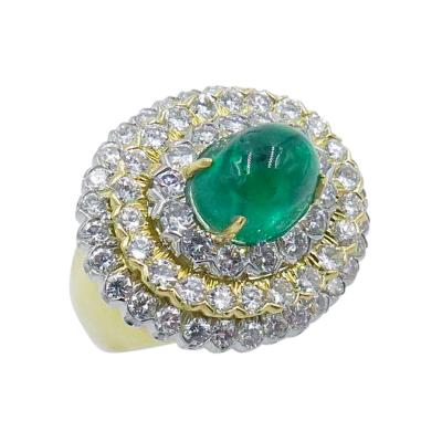 David Webb David Webb Yellow Gold Diamond and Emerald Ring