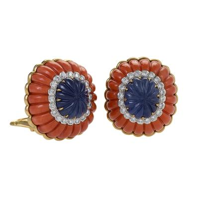 David Webb Gold and Platinum Earrings with Sapphires Diamonds and Corals by David Webb