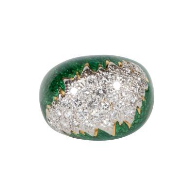 David Webb Mid Century David Webb Enamel Diamond Gold and Platinum Ring