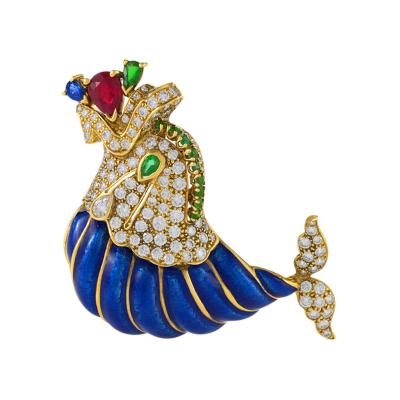 David Webb Mid Century Diamond Emerald Ruby Sapphire Gold and Enamel Dolphin Brooch