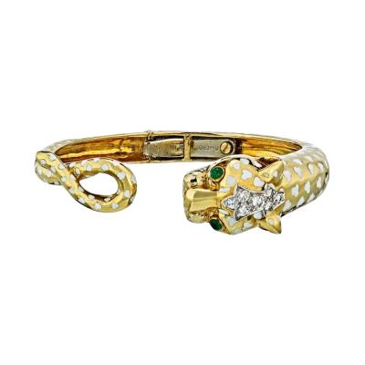 David Webb PANTHERE PLATINUM 18K YELLOW GOLD WHITE ENAMEL DIAMOND BANGLE BRACELET