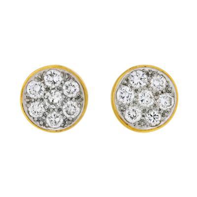 David Webb PLATINUM 18K YELLOW GOLD 1 50 CARAT ROUND CUT DIAMOND CLUSTER STUD EARRINGS