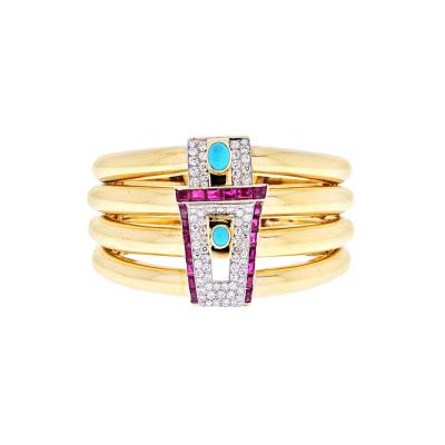 David Webb PLATINUM 18K YELLOW GOLD 1960S DIAMOND RUBY AND TURQUOISE BANGLE BRACELET