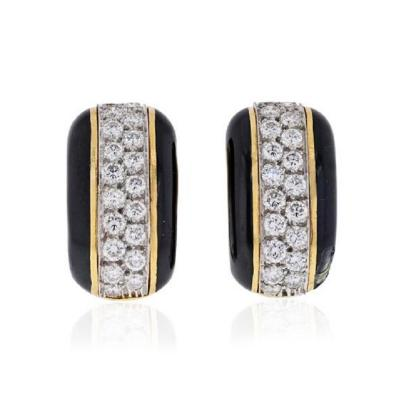 David Webb PLATINUM 18K YELLOW GOLD 2 00 CARAT DIAMOND HUGGIE BLACK ENAMEL EARRINGS