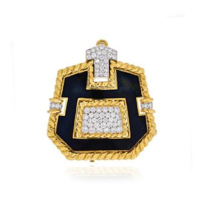 David Webb PLATINUM 18K YELLOW GOLD 8 CARAT DIAMOND AND BLACK ENAMEL PENDANT BROOCH
