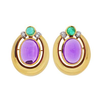 David Webb PLATINUM 18K YELLOW GOLD CABOCHON AMETHYST DIAMOND AND EMERALD EARRINGS