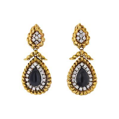 David Webb PLATINUM 18K YELLOW GOLD ONYX AND DIAMOND TEARDROP DANGLE DROP EARRINGS