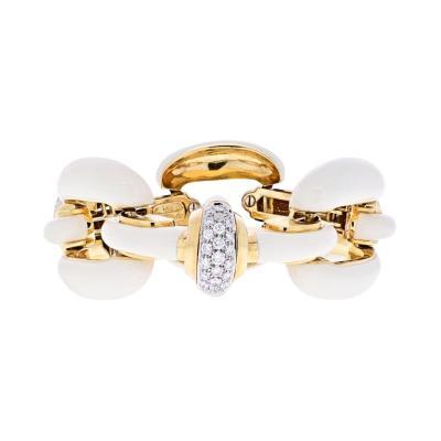 David Webb PLATINUM 18K YELLOW GOLD OPEN LINK WHITE ENAMEL AND DIAMOND BRACELET