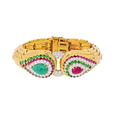 David Webb PLATINUM 18K YELLOW GOLD RAJA TEARS GREEN EMERALDS RUBIES DIAMONDS BRACELET