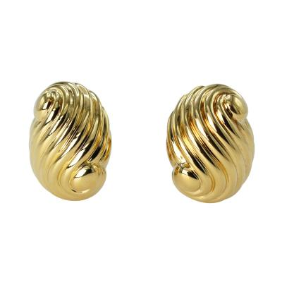 David Webb Pair of 18 Karat Gold Earclips by David Webb