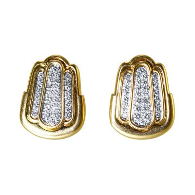 David Webb Pair of 18 Karat Gold and Diamond Earclips by David Webb