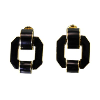David Webb Pair of 18 Karat Gold and Enamel Earclips by David Webb