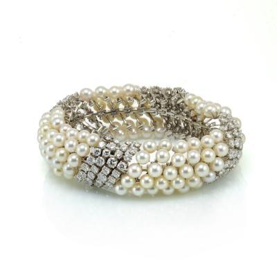 David Webb White Pearl Diamond Bracelet