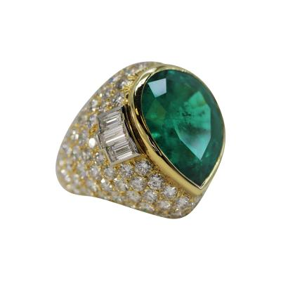 David Webb Wonderful David Webb Pear Shaped Emerald and Diamond Ring