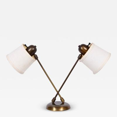 David Wurster David Wurster Double Head Brass Desk Lamp with Two Shades C 1950