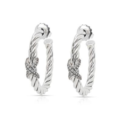 David Yurman Cable Diamond X Hoop Earrings in Sterling Silver 0 33 CTW