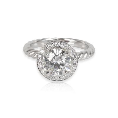 David Yurman Capri Halo Diamond Engagement Ring in Platinum GIA H VS1 1 30 CTW