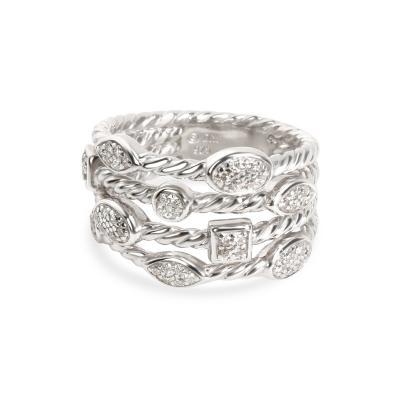 David Yurman David Yurman 4 Row Confetti Diamond Ring in Sterling Silver 0 23 CTW