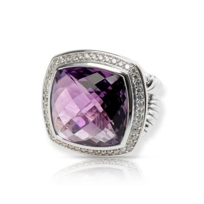 David Yurman David Yurman Albion Amethyst Diamond Ring in Sterling Silver