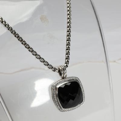 David Yurman David Yurman Albion Black Onyx Diamond Necklace in Sterling Silver 0 78 CTW