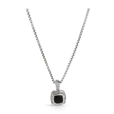 David Yurman David Yurman Albion Onyx Diamond Necklace in Sterling Silver Black 0 17 CTW