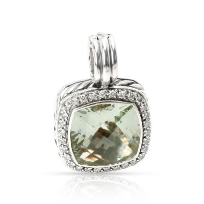 David Yurman David Yurman Albion Prasiolite Diamond Pendant in Sterling Silver 0 32 ctw