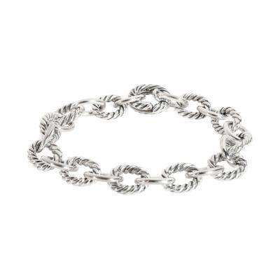 David Yurman David Yurman Cable Bracelet in 18K White Gold Sterling Silver