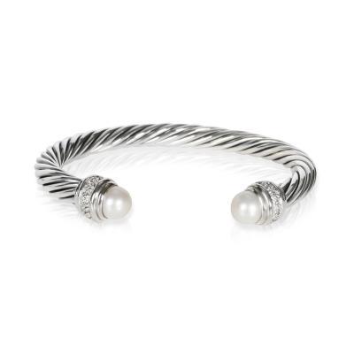 David Yurman David Yurman Cable Bracelet with Diamonds Pearls in Sterling Silver 0 41CTW