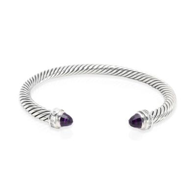 David Yurman David Yurman Cable Classics Diamond Amethyst Bangle in Sterling Silver 0 08CTW