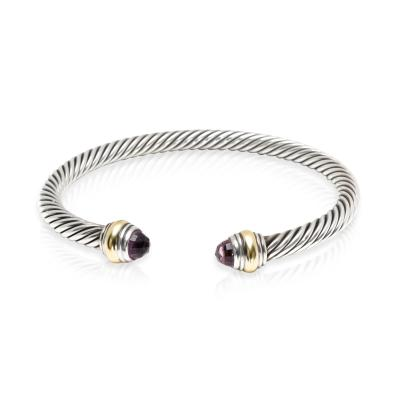 David Yurman David Yurman Cable Collectibles Amethyst Cuff in 14K Gold Sterling Silver