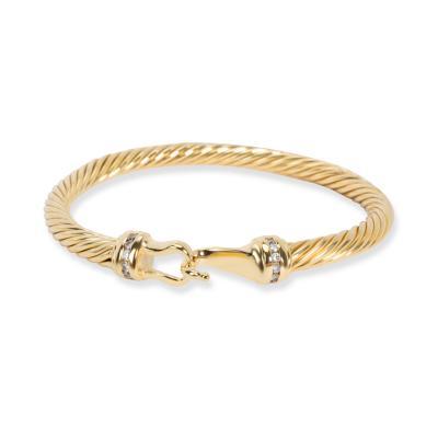 David Yurman David Yurman Cable Collectibles Buckle Diamond Bracelet in 18K Yellow Gold 0 12