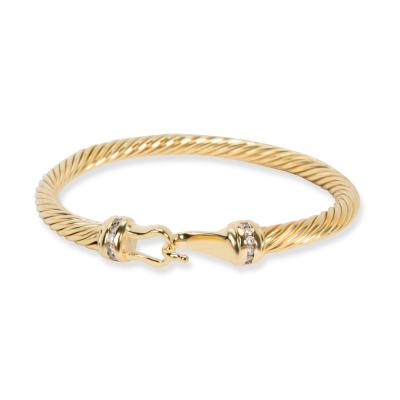 David Yurman David Yurman Cable Collectibles Buckle Diamond Bracelet in 18K Yellow Gold 0 12