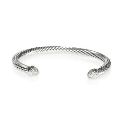 David Yurman David Yurman Cable Diamond Bangle in Sterling Silver 0 10 CTW