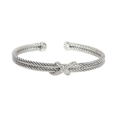 David Yurman David Yurman Cable Diamond X Bracelet in Sterling Silver 0 22 CTW