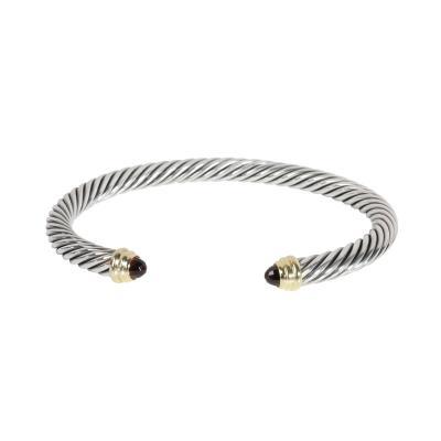 David Yurman David Yurman Cable Garnet Bangle in 14K Yellow Gold Sterling Silver