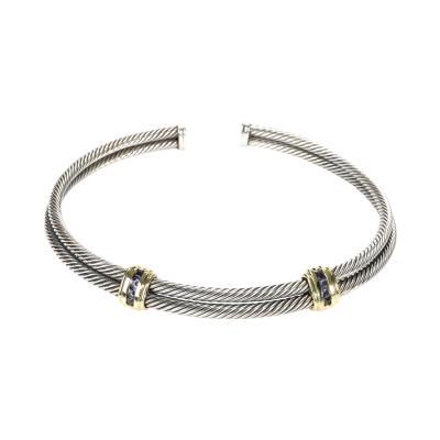David Yurman David Yurman Cable Iolite Choker Necklace in 14K Yellow Gold Sterling Silver