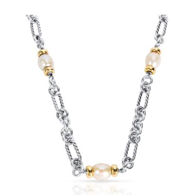 David Yurman David Yurman Cable Link Pearl Necklace in Sterling Silver 18K Yellow Gold