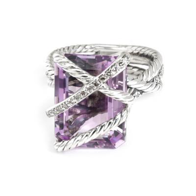 David Yurman David Yurman Cable Wrap Diamond Amethyst Ring in Sterling Silver 0 2 CTW