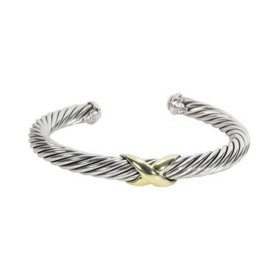 David Yurman David Yurman Cable X Bangle in 14K Yellow Gold Sterling Silver