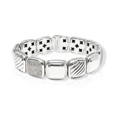 David Yurman David Yurman Chiclet Diamond Bracelet in Sterling Silver 1 75 CTW