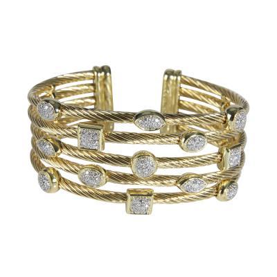 David Yurman David Yurman Confetti Diamond Cuff in 18K Yellow Gold 0 55 CTW