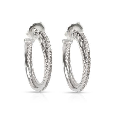 David Yurman David Yurman Crossover Diamond Hoop Earring 14K Gold Sterling Silver 0 40ctw