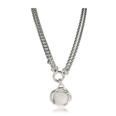 David Yurman David Yurman Crossover Diamond Necklace in Sterling Silver 1 69 CTW